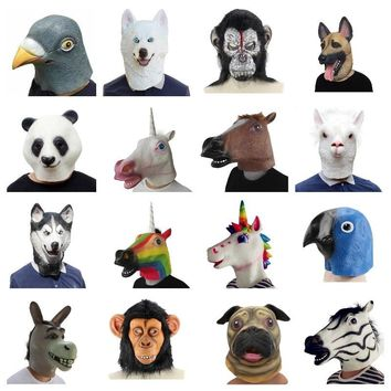 Creepy Horse unicorn Alpaca Pigeon Rubber Animal Mask latex party Panda Animal Mask kids Party Halloween Masquerade Mask funny