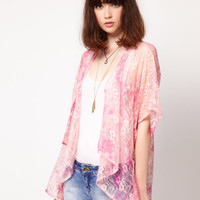 Band of Gypsies Lace Kimono Jacket in Tie Dye