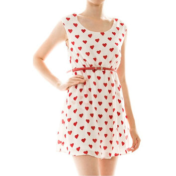 Red heart dress valentines anchor pin up dresses tunic cute womens clothing screen print retro fashion gift