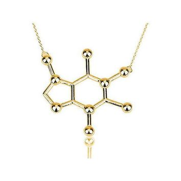 Chemistry Caffeine Molecule Necklace Gold or Silver