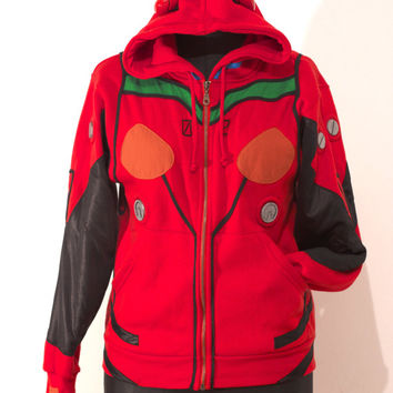 OTAKool: Hooded full zip sweatshirt inspired by ASUKA SORYU LANGLEY's plugsuit from Neon Genesis Evangelion. Made on demand!