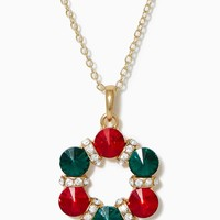 Holiday Twinkle Wreath Necklace   Jewelry - Whimsical Christmas   charming charlie