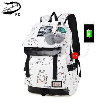FengDong female fashion letters printing backpack usb bag for laptop women travel bags white canvas school backpack for girls