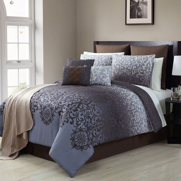 Victoria Classic Damask Violet/Chocolate 16 Piece Comforter Set King Size