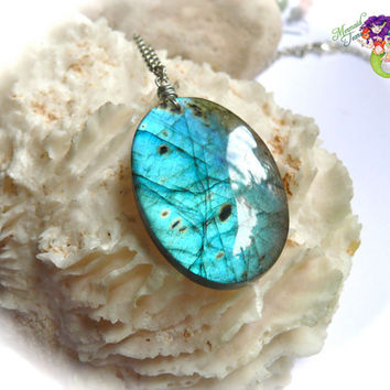 BIG Natural Labradorite Necklace - gemstone jewelry blue flash stone pendant by Mermaid Tears Hawaii