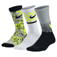 Nike Multi-Graphic Cotton Cushion Crew Kids' Socks (3 Pair)