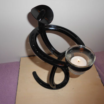 Horseshoe Cowboy Candle Holder - Tea Light Candle - Home Decor - Center Piece