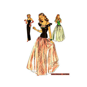1940s Hollywood Evening Gown Sewing Pattern 1501 Full or Slim Skirt, Camisole Top, Cape Size 12 Bust 30
