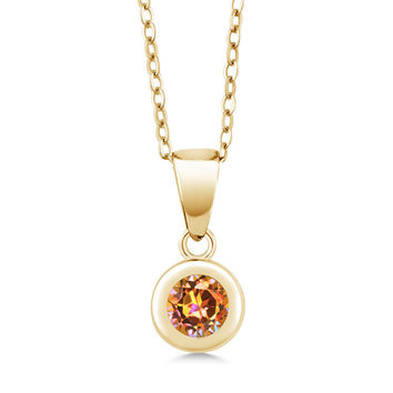 Ecstasy Mystic Topaz 18K Yellow Gold Plated Silver Pendant With Chain
