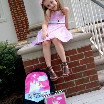 BACK TO SCHOOL Set! Princess Castle Pink Name Fairy Tale - Any Color - Personalized Backpack & Matching Lunch Box Lot - Custom Girls School