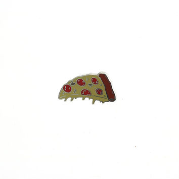 Dripping Pizza Pin // Pizza slice lapel pin, hard enamel pin badge, Pizza crust pin
