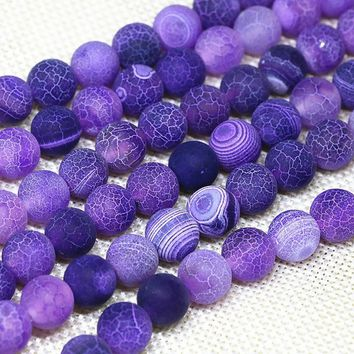 Natural Stone Purple Weathered Agate Round Loose Beads Pick Size 4/6/8/10/12MM For Jewelry Making DIY