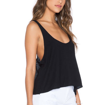 Black Deep U Neck Sleeveless Loose Top