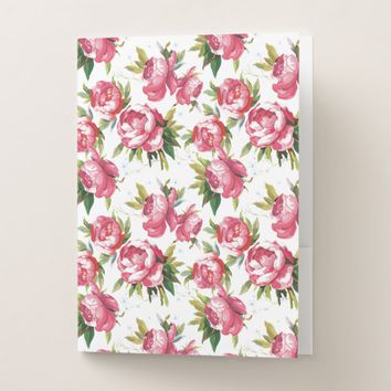 Stylish Vintage Pink Floral Pattern Pocket Folder