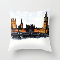 London, Big Ben, parliament, Watercolour Throw Pillow by Paint The Moment