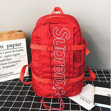 Supreme Fashion New Letter Print Women Men Travel Leisure Backpack Bag Red