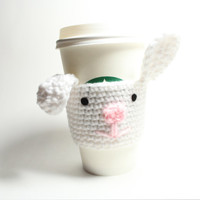 Easter Bunny coffee cozy, Animal cup sleeve, Rabbit Crochet Cozy