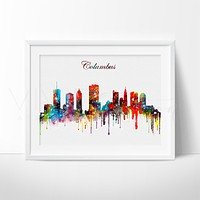Columbus, Ohio Skyline Watercolor Art Print
