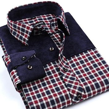 New Arrival Leisure Men's Non-Iron Flannel Shirts Slim Fit Spliced Shirt Plaid Shirts For Men Boutique Clothing