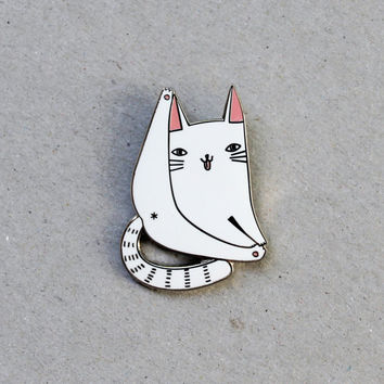 Cat forever enamel pin badge - lapel metal white cat pin