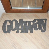 Go away. Fun floor mat. Home decor. Customizable.