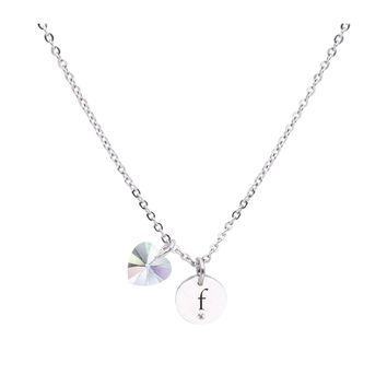Dainty Initial Necklace made with Crystals from Swarovski  - F