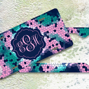 Set of TWO - Mosaic on Soft Pink, Teal and Tropez Blue monogrammed front car tags - 107