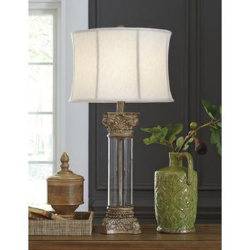 L430404 Jaylen Glass Table Lamp (1/CN) - Clear/Brown - Free Shipping!