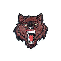Brown Wolf Embroidered Applique Iron on Patch