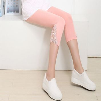 2017 Hirigin Women Pants Capris Lace Solid Color Women Ladies Casual Summer Modal Short Legging Skinny Stretch Cropped Pants