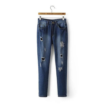 Summer Rinsed Denim Ripped Holes Denim Pants Women's Fashion Skinny Pants [4919998148]