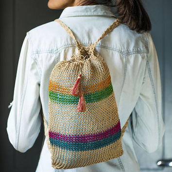 Woven jute knapsack handmade stripy backpack festival bag ska reggae sisal backpack beige knapsack woven small beach shoulder bag unused