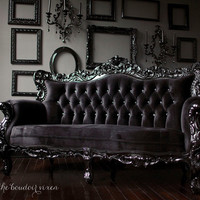 Fabulous and Baroque — Belle de Fleur French Love Seat - Black Client Photo