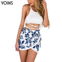 YOINS New 2016 Women Sexy Sleeveless Backless Cut Out Crop Tops with Floral Print Crossed Front Skirt Women Sets 2 Pieces
