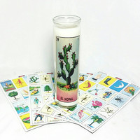 El Nobal Loteria Religious Soy Wax Candle/Mexican Candles/Antique Sandalwood Scented Candle/Mexico Bingo/Cactus Succulent