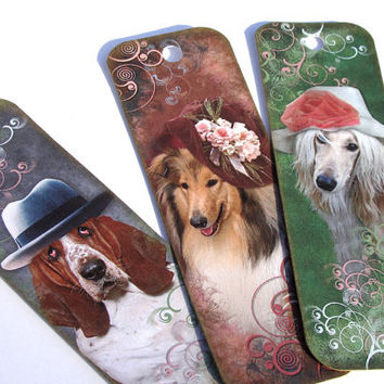 Dogs in Hats - Set of 8 - Dog Bookmarks - Book Accessories - Collie Bookmark - Spaniel Bookmark - Costumed Dogs - Animal Bookmarks