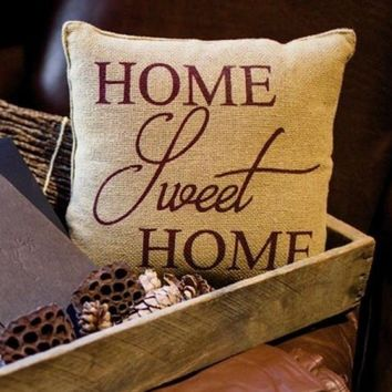 HOME SWEET HOME Burlap Stenciled accent Pillow Primitive natural Tan 12x12""