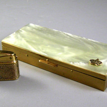 Lucite Faux Pearl and Brass Hinged Cigarette Case with Lighter // WORKS // Japan
