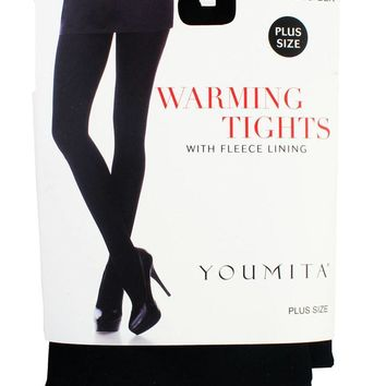 Ladies plus size warming tights with fleece lining