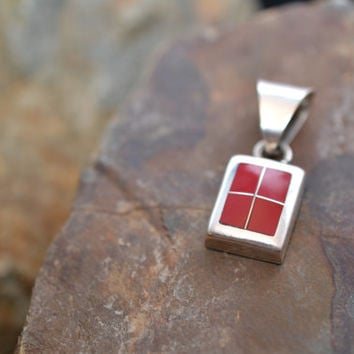 Large Sterling Silver and Coral Window Pane Pendant