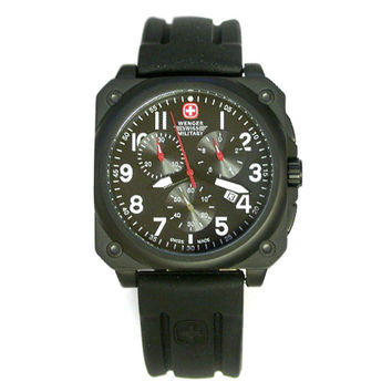 Wenger 79061 Men's Military AeroGraph Cockpit Black IP Steel Rubber Strap Chronograph Watch