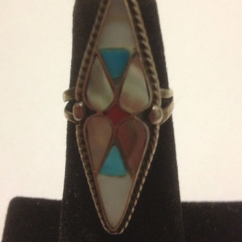 Navajo Turquoise Red Coral Sterling Ring Size 5 Silver MOP Mother of Pearl Abalone Inlay Vintage Native Southwestern Jewelry Gift