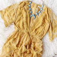 Tainted Rose Lace Maxi Dress in Mustard
