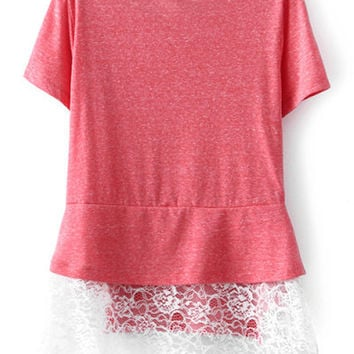 Pink Short Sleevel Peplum Lace T-shirt