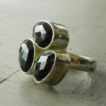 Faceted Black Smoky Quartz Boho Ring // Large Black and Silver Oxidized Statement Ring Size 8 // Vintage Jewelry