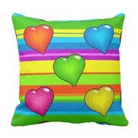Multi-colored Hearts and Stripes Throw Pillow