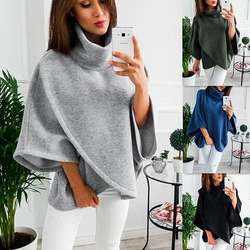 Womens Solid Color Pullover Cross Sweater +Gift Necklace