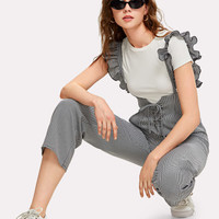 Lace Up Plaid Pants With Ruffle Strap -SheIn(Sheinside)