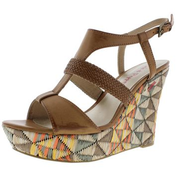 Pink & Pepper Womens Desired Woven Colorblock Wedge Sandals
