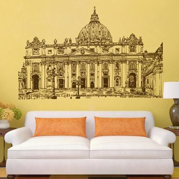 ik2417 Wall Decal Sticker Vatican Rome Italy St Peter's living room bedroom Italian restaurant